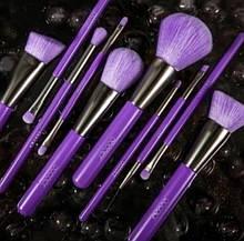 Набір пензлів для макіяжу N1002 Neon Purple (10 шт.)