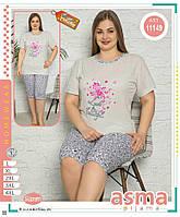 """Піжама жіноча футболка+шорти, батальна з принтом розміри L-4XL """"МОДА"""" недорого від прямого постачальника"""