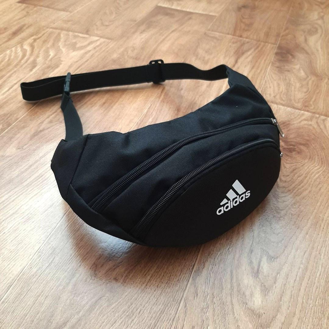 Бананка, барсетка, стильна поясна сумка Adidas | Чорна, Репліка!