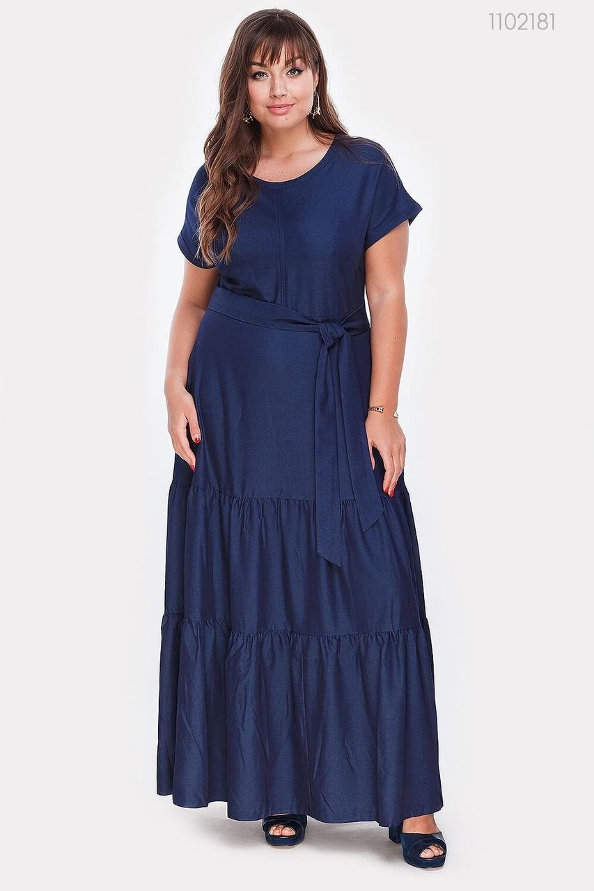 Шикарное длинное летнее платье синего цвета. Размер: 48, 50