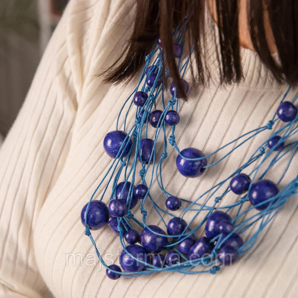 Синее ожерелье из дерева «Спогади Насті» в этническом стиле