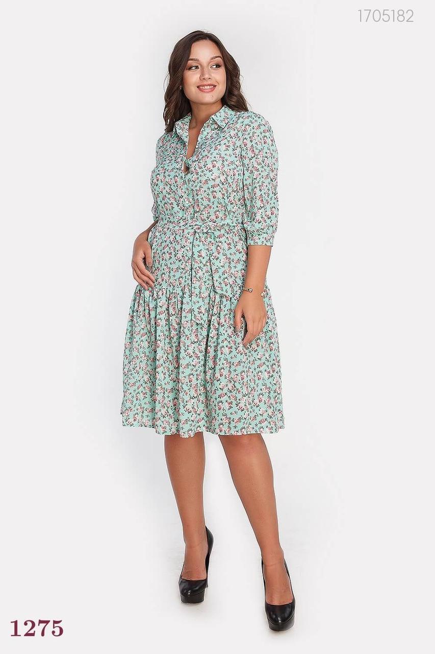 Нежное летнее платье-рубашка с поясом мятного цвета. Размер: 48