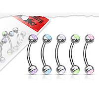 Серьга для пирсинга брови от Spikes (светится в темноте) - разные цвета