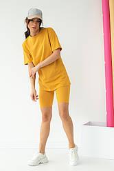 TITUS Костюм двойка велосипедки и футболка  - горчичный цвет, M