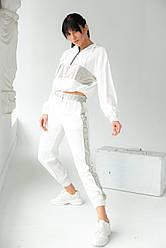 PERRY Костюм спортивный женский с блестящими вставками - белый цвет, L