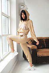 PERRY Костюм спортивный женский с блестящими вставками - бежевый цвет, L