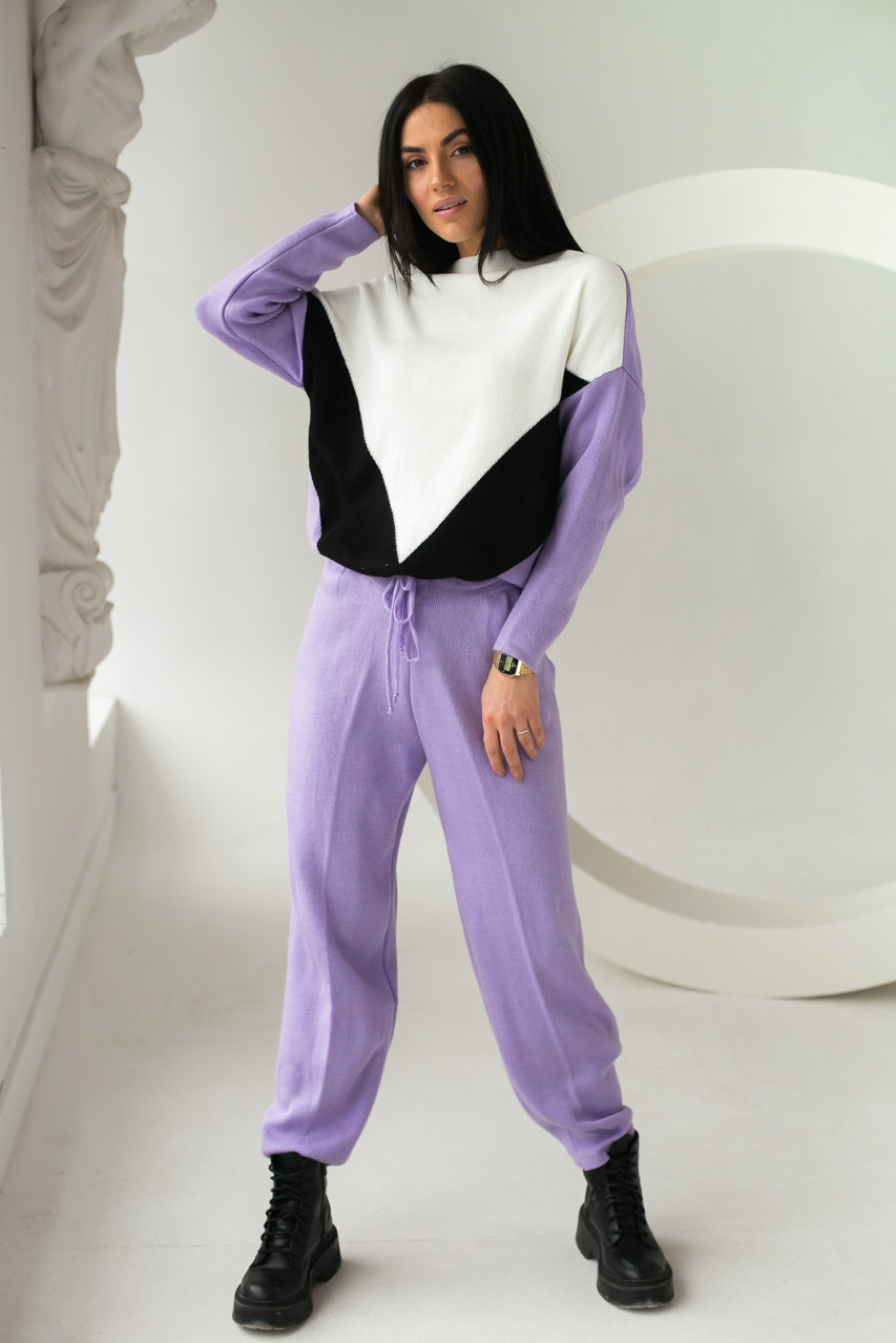 LUREX Мягкий спортивный костюм с геометрическим рисунком - лавандовый цвет, M