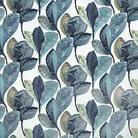 Декоративная ткань синие листья крупные акварель Испания 280см 88093v3, фото 1