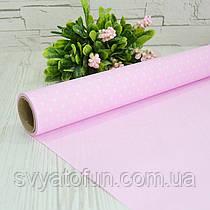 Бумага флористическая розовая в белый горошек