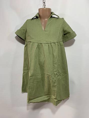 Платье для девочки р. 6-10 лет зеленое, фото 2