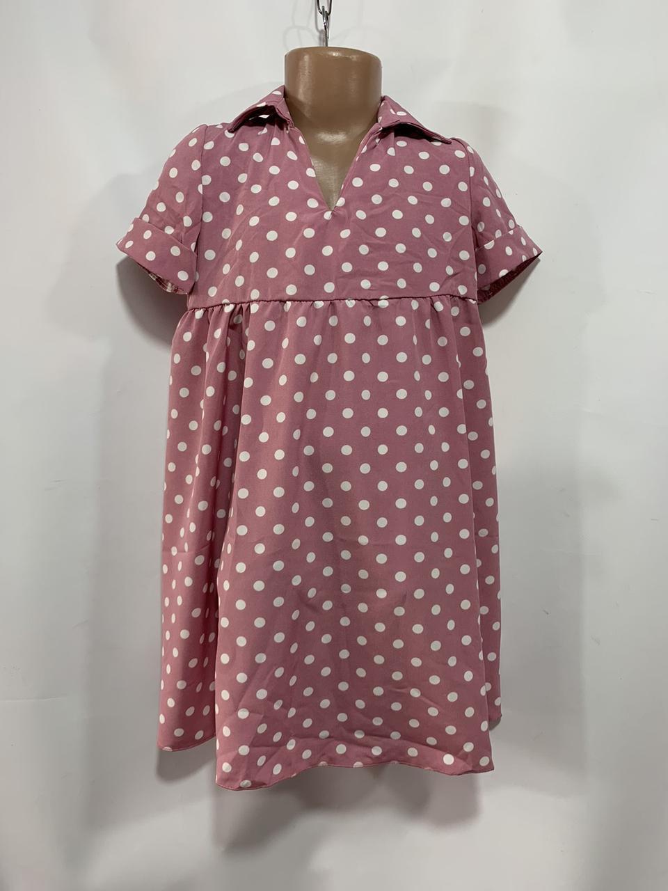 Платье для девочки в горох р. 6-10 лет пудра