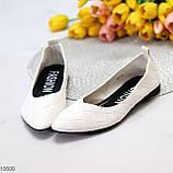 Повсякденні жіночні фактурні м'які білі жіночі балетки 36-23 37-23,5 см, фото 3