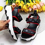 Трендові молодіжні чорні босоніжки на липучках на товстій підошві, фото 10