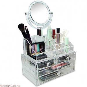 Акриловый прозрачный органайзер для косметикии украшений Cosmetic Organizer с зеркалом,Органайзер пластиковый