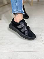 Кросівки на липучках, модель Keds комбіновані, чорні, фото 1
