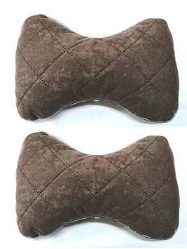 Подушка на подголовник ткань алькантара темно бежевая (кофе) (2шт)