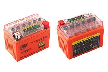 Мото аккумулятор АКБ (Аккумулятор на скутер, мотоцикл, мопед) 12В (V) 4А гелевый (114x71x88, оранжевый, с
