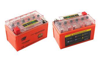 Мото аккумулятор АКБ (Аккумулятор на скутер, мотоцикл, мопед) 12В (V) 7А гелевый (150x85x95, оранжевый, с