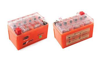 Мото аккумулятор АКБ (Аккумулятор на скутер, мотоцикл, мопед) 12В (V) 7А гелевый (150x85x95, оранжевый,