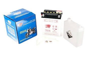 Мото аккумулятор АКБ (Аккумулятор на скутер, мотоцикл, мопед) 12В (V) 14А заливной (134x89x166, белый, mod:YB