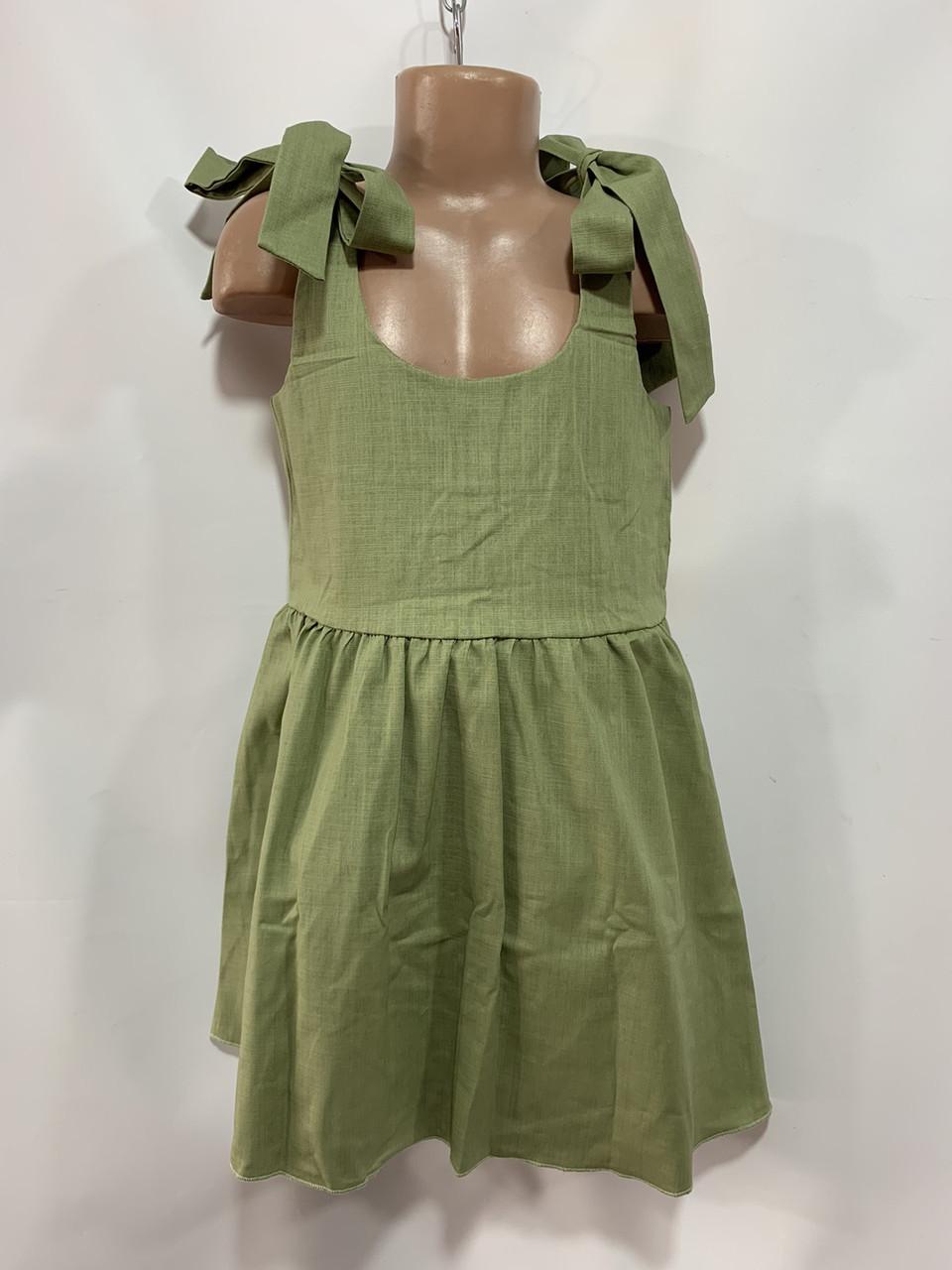 Летний сарафан для девочки р. 6-10 лет зеленый