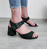Зеленые замшевые босоножки на каблуке, фото 1