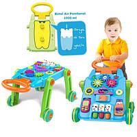 Детский игровой центр 2 в 1  (каталка - ходунки - столик) с панелью и с звук и свет элементами арт. 869-15