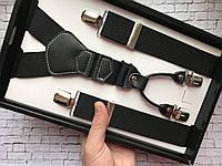 Подтяжки мужские черные на 4 застежки классика солидный аксессуар