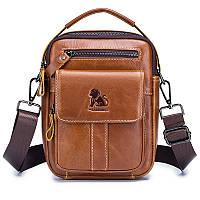 Мужская кожаная сумка Laoshizi Luosen 089 коричневая