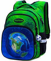 Рюкзак ортопедический школьный для мальчика в 1-4 класс зеленый Планета Winner One SkyName R3-239 29х19х38 см