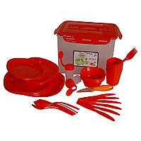 Столовый набор для пикника Picnic Package, 55 предметов, красный, фото 1