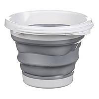Ведро складное Silicon Bucket 10 литров,1981 C, серое, фото 1