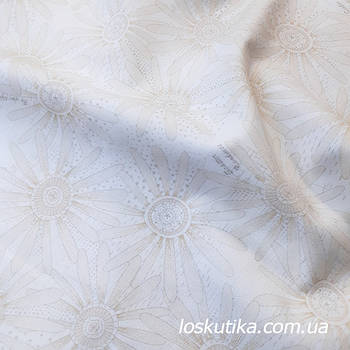 62015 Молочная ромашка. Ткань с цветочным принтом. Натуральный хлопок. Ткань квилтинговая с набивным рисунком.