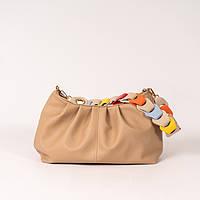 Сумочка-пельмень! Женская бежевая сумка K55-20/1 с длинной цветной ручкой на плечо, фото 1