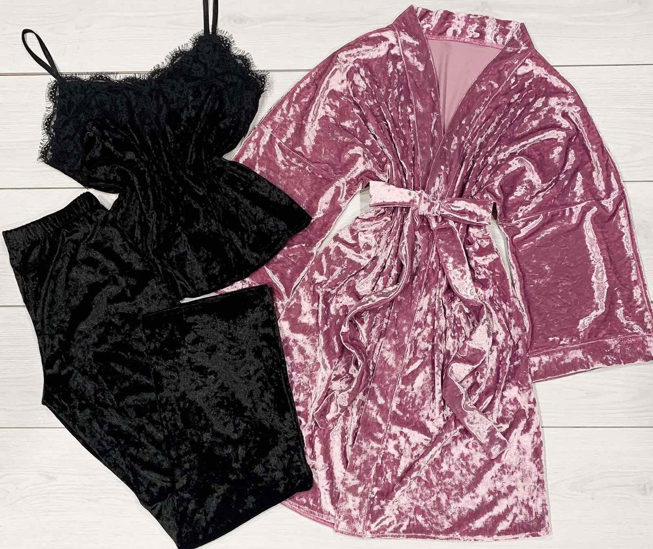 Оксамитовий комплект домашньої одягу халат+футболка+штани 084-010.