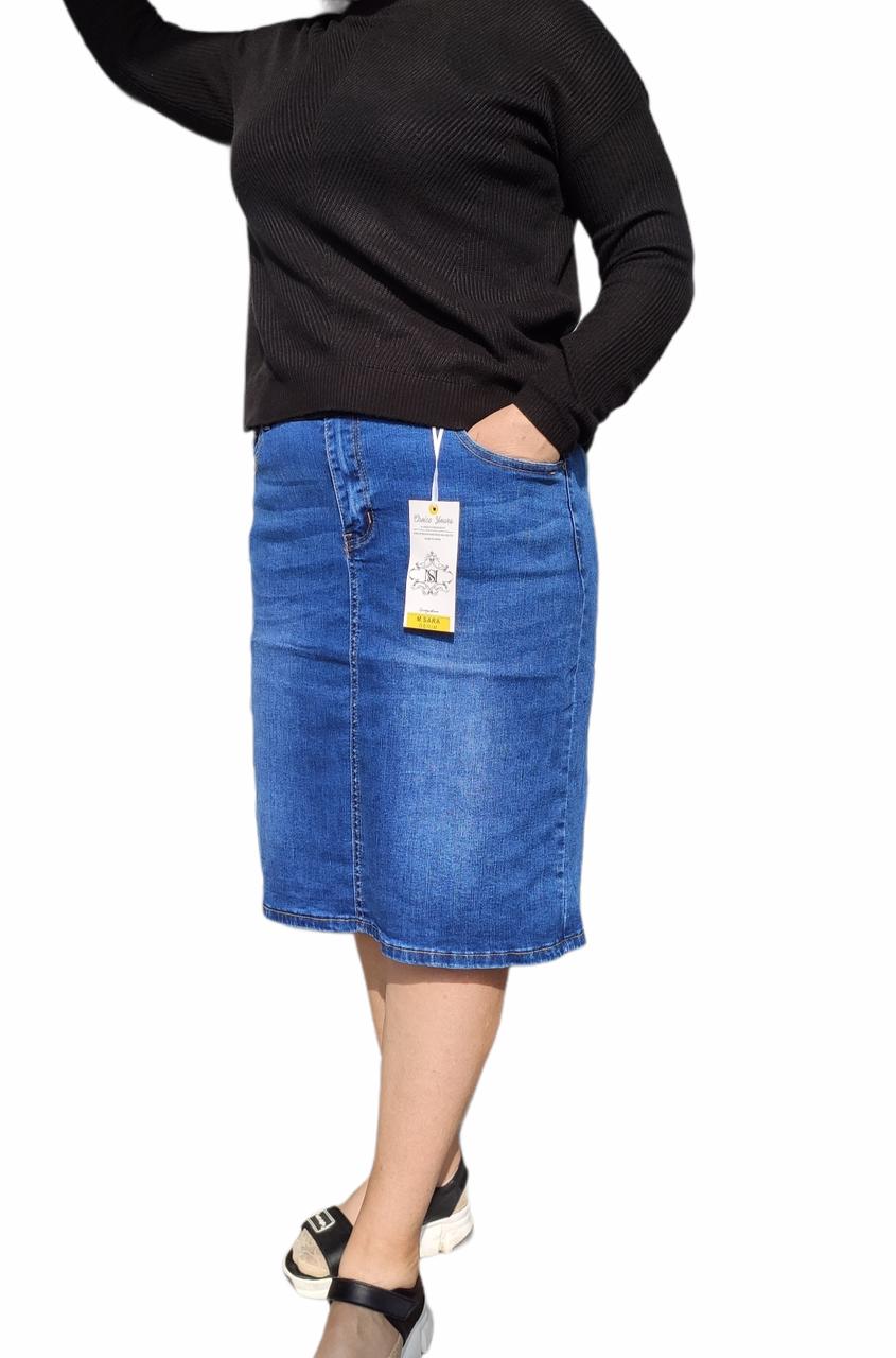 Спідниця жіноча джинсова спідниця великого розміру нижче коліна блакитного кольору