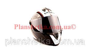 Шлем для мотоциклов HF-122 черный с белой полосой темный визор