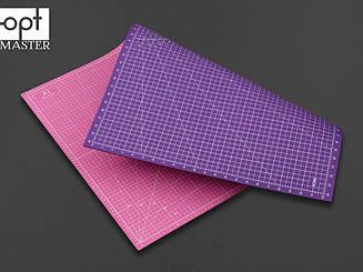 Коврик для раскройки кожи и ткани двухсторонний А1 Розовый+фиолетовый