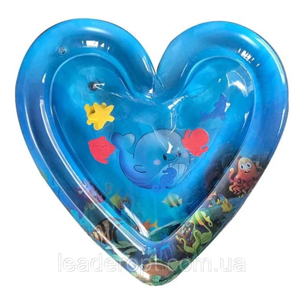 ОПТ Розвиваючий дитячий водний надувний ігровий килимок Серце морська тематика
