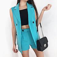 Костюм двойка женский (пиджак без рукавов и шорты), 00955 (Голубой), Размер 42 (S), фото 2