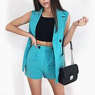 Костюм двойка женский (пиджак без рукавов и шорты), 00955 (Голубой), Размер 42 (S), фото 3