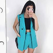 Костюм двійка жіночий (піджак без рукавів і шорти), 00955 (Блакитний), Розмір 42 (S), фото 4
