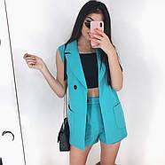 Костюм двійка жіночий (піджак без рукавів і шорти), 00955 (Блакитний), Розмір 42 (S), фото 5