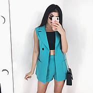 Костюм двойка женский (пиджак без рукавов и шорты), 00955 (Голубой), Размер 42 (S), фото 6