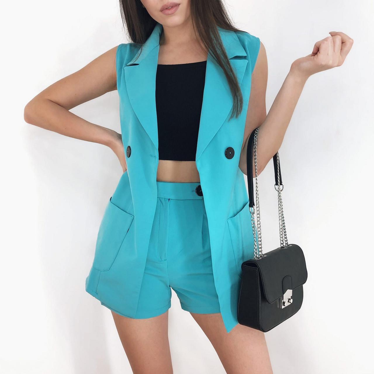 Костюм двойка женский (пиджак без рукавов и шорты), 00955 (Голубой), Размер 42 (S)
