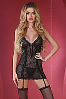 Красивая черная кружевная сорочка с пажами Livia corsetti Connie