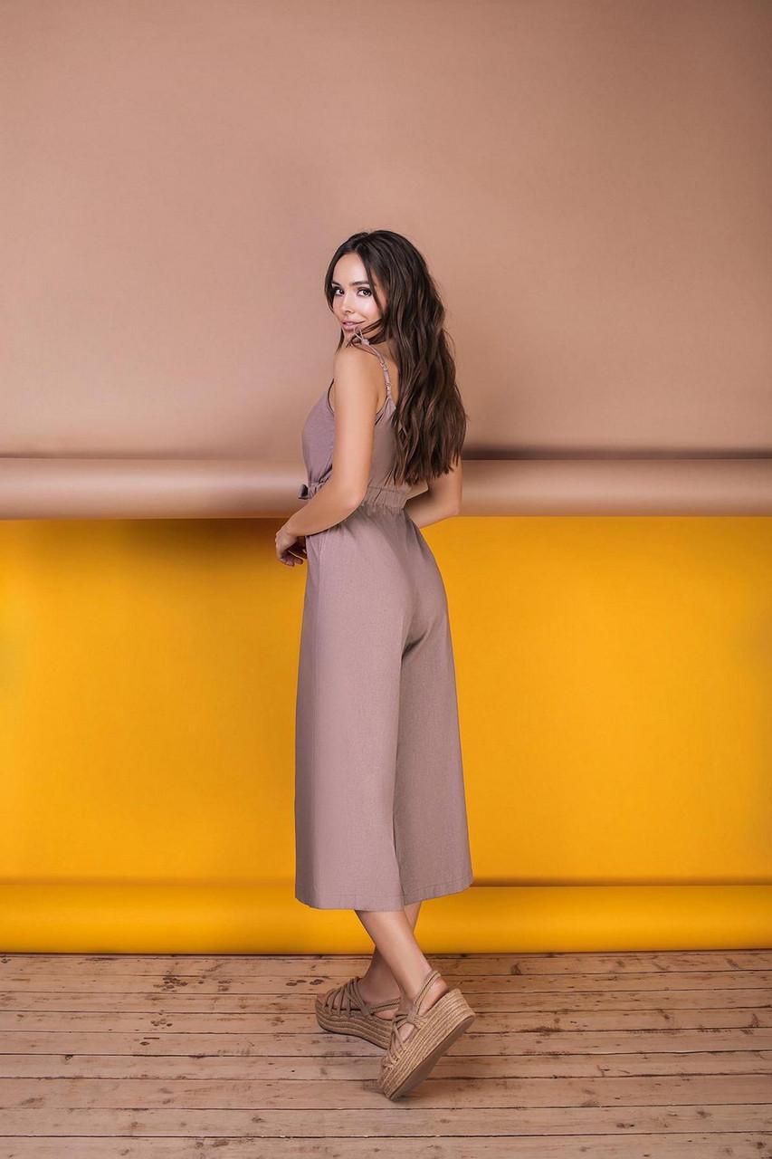 Комбинезон женский длиною ниже колен из льна, 00956 (Мокко), Размер 42 (S)