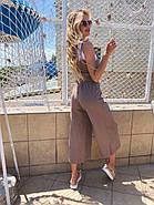 Комбинезон женский длиною ниже колен из льна, 00956 (Мокко), Размер 42 (S), фото 4