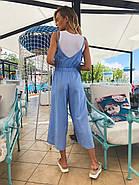 Легкий літній комбінезон жіночий на бретельках, 00958 (Блакитний), Розмір 42 (S), фото 4