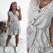 Сукня жіноча вільного крою на ґудзиках, на спідниці легка збірка у вигляді широкого волана, 00960 (Білий),, фото 2